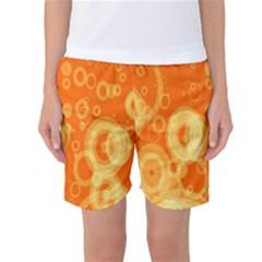 Retro Orange Circle Background Abstract Women s Basketball Shorts by Nexatart
