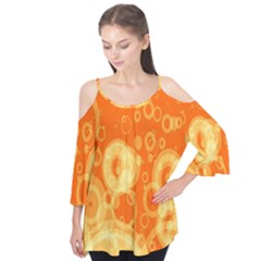 Retro Orange Circle Background Abstract Flutter Tees by Nexatart