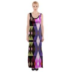 Geometric Abstract Background Art Maxi Thigh Split Dress by Nexatart