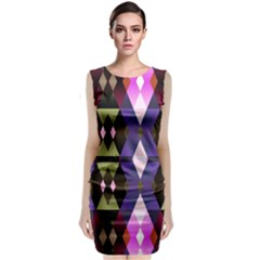 Geometric Abstract Background Art Sleeveless Velvet Midi Dress by Nexatart