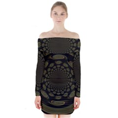 Dark Portal Fractal Esque Background Long Sleeve Off Shoulder Dress by Nexatart