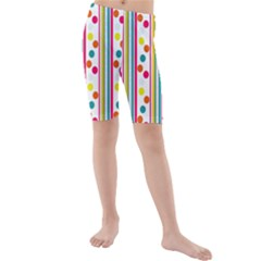 Stripes And Polka Dots Colorful Pattern Wallpaper Background Kids  Mid Length Swim Shorts by Nexatart