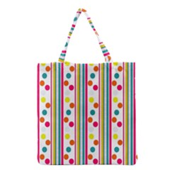 Stripes And Polka Dots Colorful Pattern Wallpaper Background Grocery Tote Bag by Nexatart