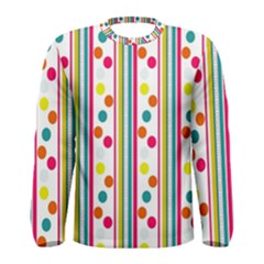Stripes And Polka Dots Colorful Pattern Wallpaper Background Men s Long Sleeve Tee by Nexatart