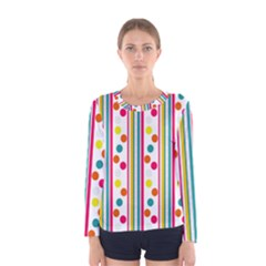 Stripes And Polka Dots Colorful Pattern Wallpaper Background Women s Long Sleeve Tee by Nexatart