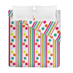 Stripes And Polka Dots Colorful Pattern Wallpaper Background Duvet Cover Double Side (full/ Double Size) by Nexatart