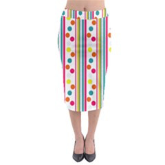 Stripes And Polka Dots Colorful Pattern Wallpaper Background Midi Pencil Skirt by Nexatart