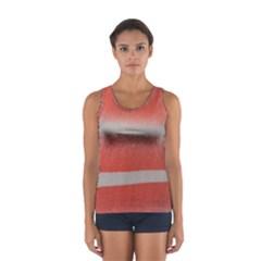 Orange Stripes Colorful Background Textile Cotton Cloth Pattern Stripes Colorful Orange Neo Women s Sport Tank Top  by Nexatart