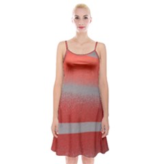 Orange Stripes Colorful Background Textile Cotton Cloth Pattern Stripes Colorful Orange Neo Spaghetti Strap Velvet Dress by Nexatart