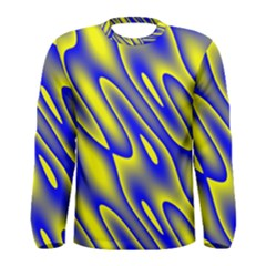Blue Yellow Wave Abstract Background Men s Long Sleeve Tee by Nexatart
