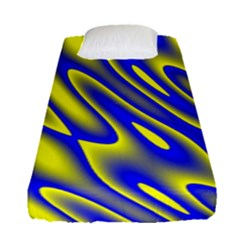 Blue Yellow Wave Abstract Background Fitted Sheet (single Size)