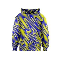 Blue Yellow Wave Abstract Background Kids  Pullover Hoodie