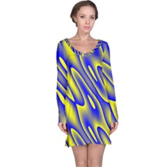 Blue Yellow Wave Abstract Background Long Sleeve Nightdress by Nexatart