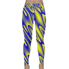 Blue Yellow Wave Abstract Background Classic Yoga Leggings by Nexatart
