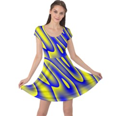 Blue Yellow Wave Abstract Background Cap Sleeve Dresses by Nexatart