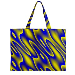 Blue Yellow Wave Abstract Background Zipper Mini Tote Bag by Nexatart