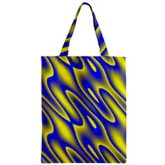 Blue Yellow Wave Abstract Background Zipper Classic Tote Bag by Nexatart