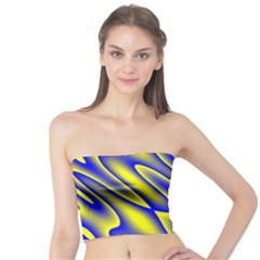Blue Yellow Wave Abstract Background Tube Top by Nexatart