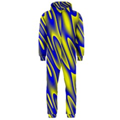 Blue Yellow Wave Abstract Background Hooded Jumpsuit (men)