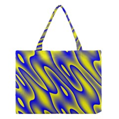 Blue Yellow Wave Abstract Background Medium Tote Bag by Nexatart
