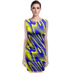 Blue Yellow Wave Abstract Background Sleeveless Velvet Midi Dress by Nexatart