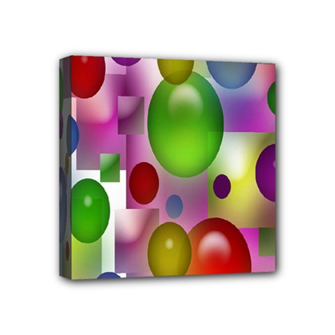 Colored Bubbles Squares Background Mini Canvas 4  X 4  by Nexatart