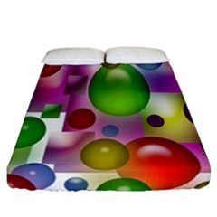 Colored Bubbles Squares Background Fitted Sheet (california King Size)