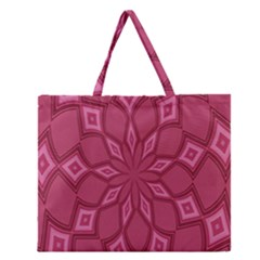 Fusia Abstract Background Element Diamonds Zipper Large Tote Bag by Nexatart