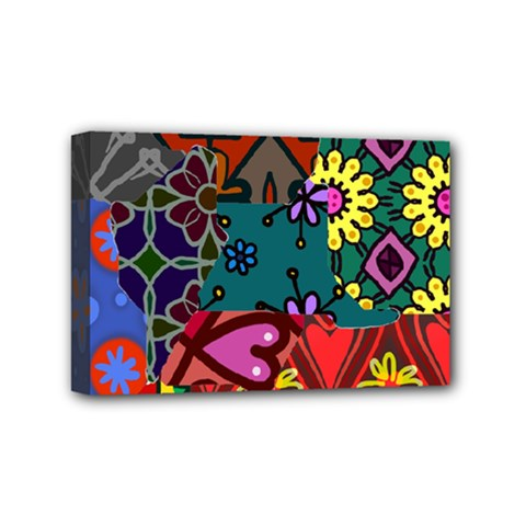 Digitally Created Abstract Patchwork Collage Pattern Mini Canvas 6  X 4