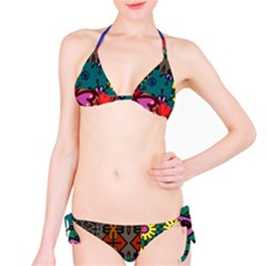 Digitally Created Abstract Patchwork Collage Pattern Bikini Set