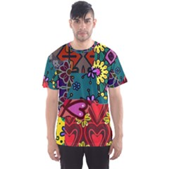 Digitally Created Abstract Patchwork Collage Pattern Men s Sport Mesh Tee by Nexatart