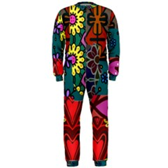 Digitally Created Abstract Patchwork Collage Pattern Onepiece Jumpsuit (men)