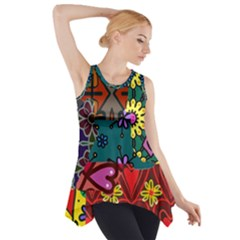 Digitally Created Abstract Patchwork Collage Pattern Side Drop Tank Tunic