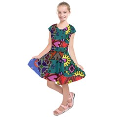 Digitally Created Abstract Patchwork Collage Pattern Kids  Short Sleeve Dress by Nexatart