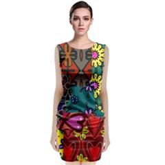 Digitally Created Abstract Patchwork Collage Pattern Sleeveless Velvet Midi Dress by Nexatart
