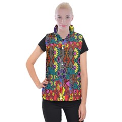Digitally Created Abstract Patchwork Collage Pattern Women s Button Up Puffer Vest