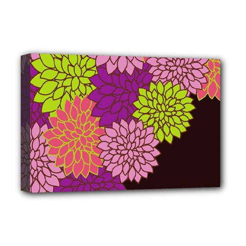 Floral Card Template Bright Colorful Dahlia Flowers Pattern Background Deluxe Canvas 18  X 12   by Nexatart