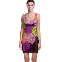 Floral Card Template Bright Colorful Dahlia Flowers Pattern Background Sleeveless Bodycon Dress