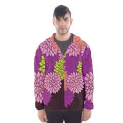 Floral Card Template Bright Colorful Dahlia Flowers Pattern Background Hooded Wind Breaker (men)
