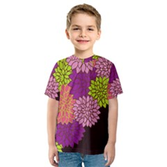 Floral Card Template Bright Colorful Dahlia Flowers Pattern Background Kids  Sport Mesh Tee by Nexatart