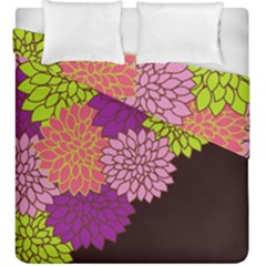 Floral Card Template Bright Colorful Dahlia Flowers Pattern Background Duvet Cover Double Side (king Size)