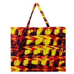 Yellow Seamless Abstract Brick Background Zipper Large Tote Bag by Nexatart