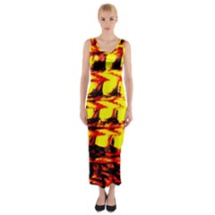 Yellow Seamless Abstract Brick Background Fitted Maxi Dress