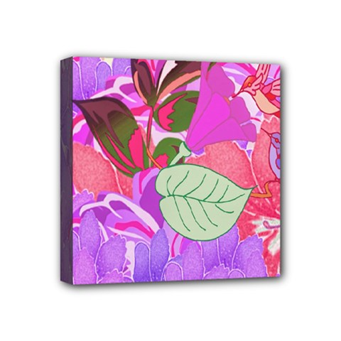 Abstract Design With Hummingbirds Mini Canvas 4  X 4  by Nexatart