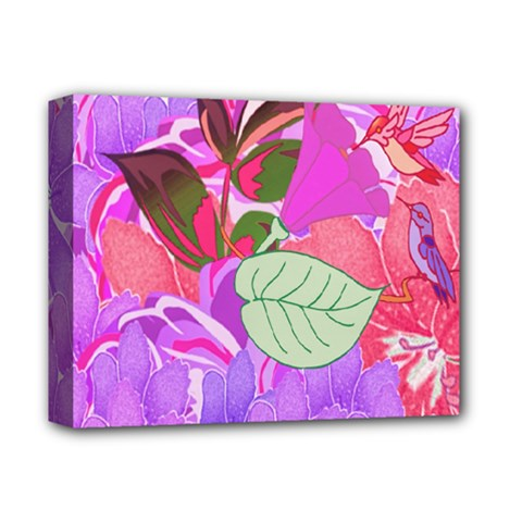 Abstract Design With Hummingbirds Deluxe Canvas 14  X 11