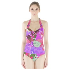 Abstract Design With Hummingbirds Halter Swimsuit