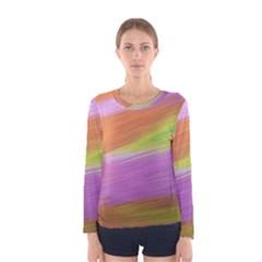 Metallic Brush Strokes Paint Abstract Texture Women s Long Sleeve Tee