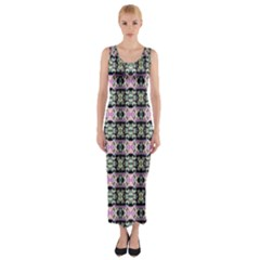 Colorful Pixelation Repeat Pattern Fitted Maxi Dress