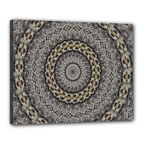 Celestial Pinwheel Of Pattern Texture And Abstract Shapes N Brown Canvas 20  X 16  by Nexatart