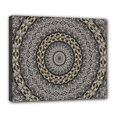Celestial Pinwheel Of Pattern Texture And Abstract Shapes N Brown Deluxe Canvas 24  X 20   by Nexatart